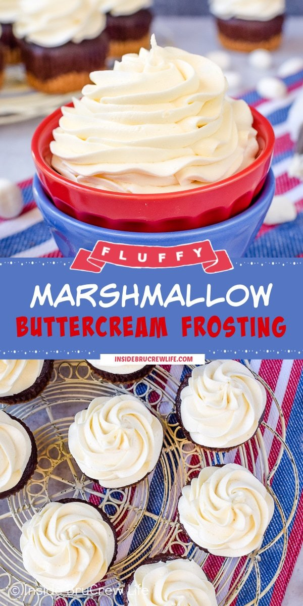 Two pictures of Marshmallow Buttercream Frosting collaged together with a blue text box.