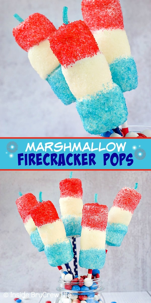 Marshmallow Firecracker Pops - marshmallow pops dipped in white chocolate and covered with red, white, and blue sprinkles make a fun firecracker treat. Easy recipe to make for Fourth of July picnics! #fourthofjuly #patriotictreats #redwhiteandblue #chocolatecoveredmarshmallows #nobake #firecracker #marshmallowsparklers