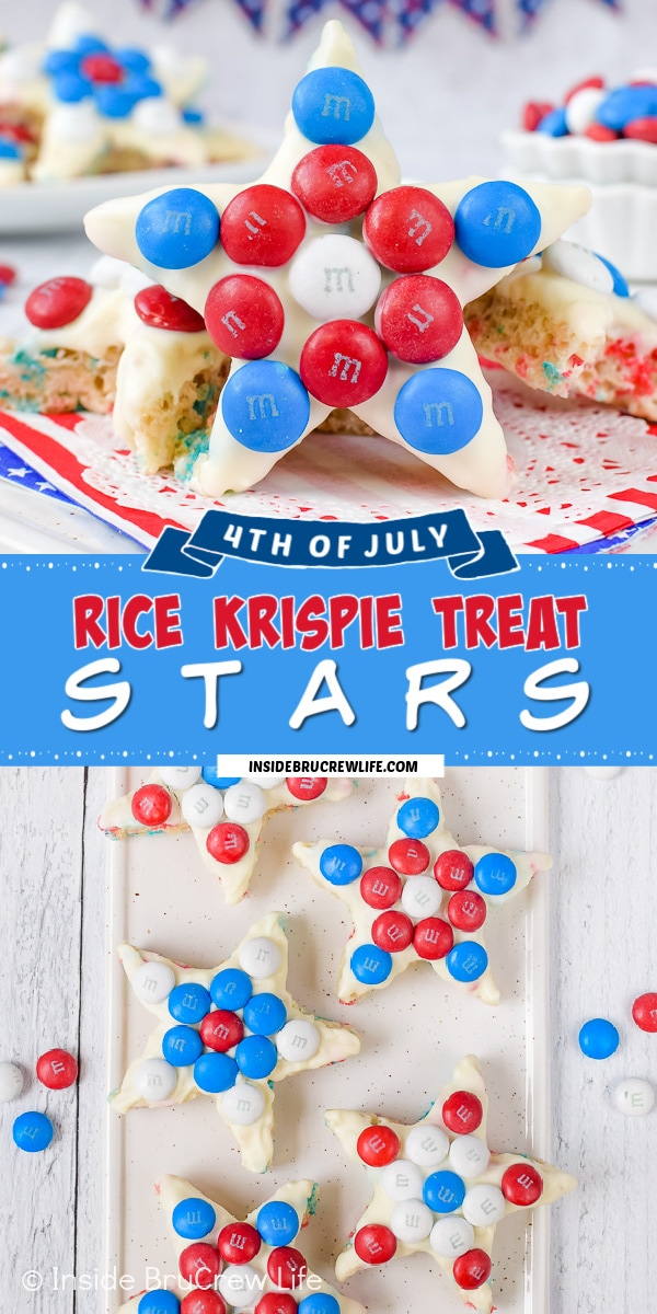 Two pictures of Red White and Blue rice krispie treat stars collaged together with a bright blue text box.