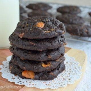 Dark Chocolate Butterfinger Cookies