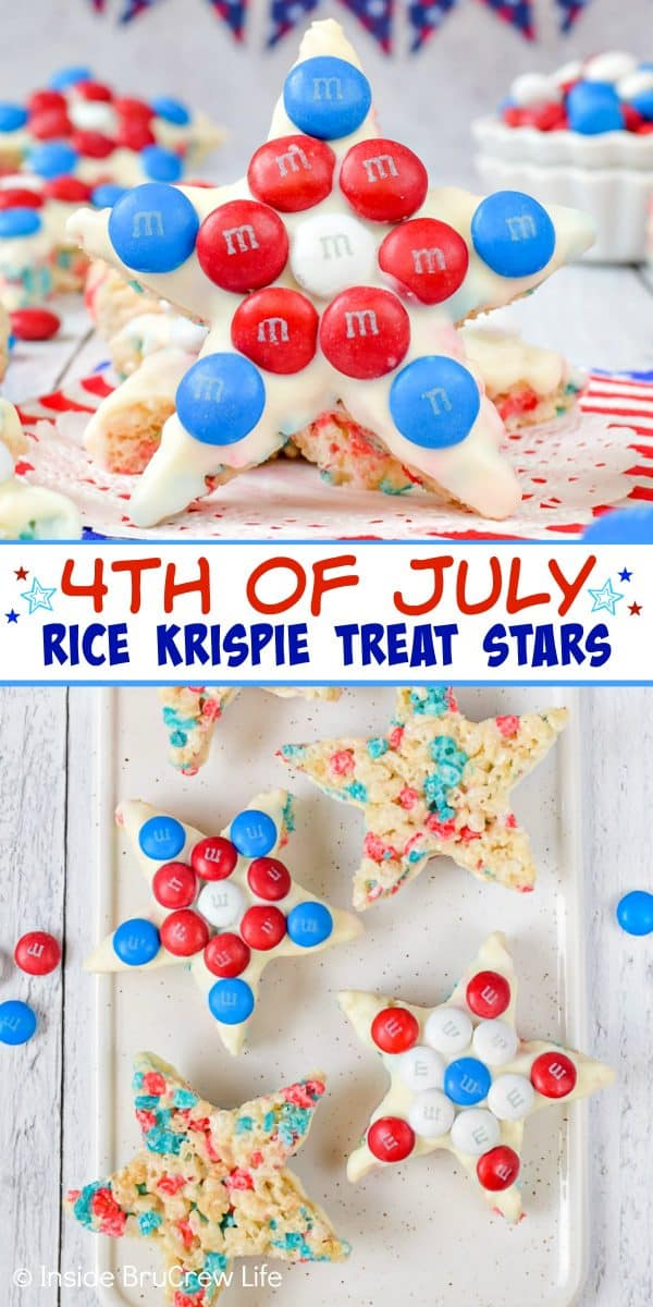 4th of July Rice Krispie Treat Stars - these easy Rice Krispie treat stars topped with white choolate and red white and blue candies are perfect for the Fourth of July. Easy recipe for summer picnics! #ricekrispietreats #patriotic #redwhiteandblue #nobake #4thofJuly