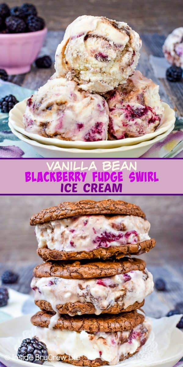 Vanilla Bean Blackberry Fudge Swirl Ice Cream - swirls of hot fudge and homemade blackberry preserves add a delicious taste to this easy vanilla bean ice cream. Add a scoop to brownie cookies for a delicious summer dessert! #homemade #icecream #vanillabean #blackberry #hotfudge #frozendessert #recipe