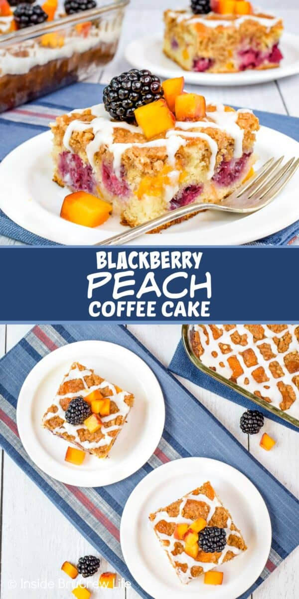 Peach Blackberry Coffee Cake - layers of sweet cake, fresh fruit, buttery streusel, and glaze make this coffee cake so delicious. Try this easy recipe for breakfast or brunch parties! #coffeecake #breakfast #blackberry #peach