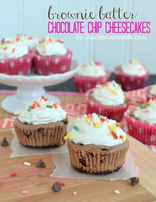 Brownie Batter Chocolate Chip Cheesecakes