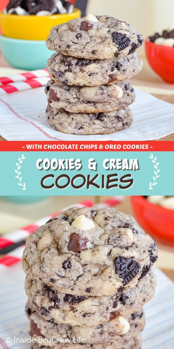 Two pictures of Cookies and Cream Cookies collaged together with a teal text box