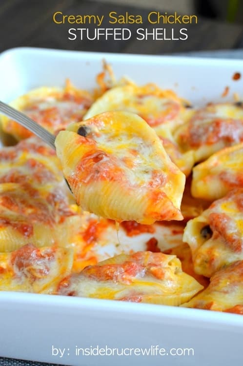 Creamy Salsa Chicken Stuffed Shells