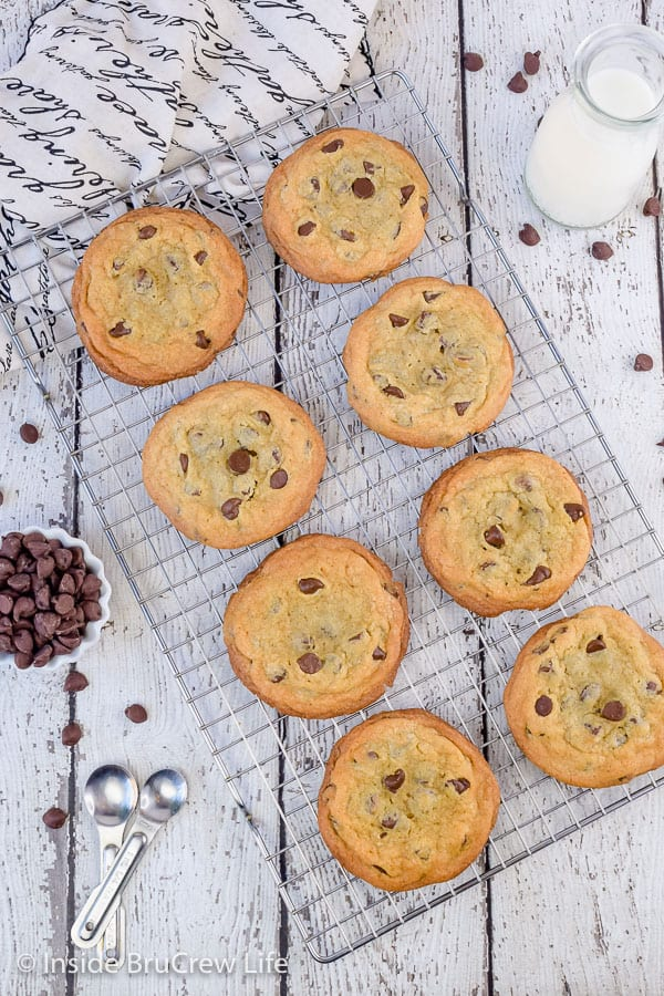 Our Favorite Chocolate Chip Cookies - fill your cookie jar with a batch of crispy and chewy cookies and watch them disappear. Great recipe to make for bake sales or parties! #cookies #chocolatechipcookies #easy #recipe