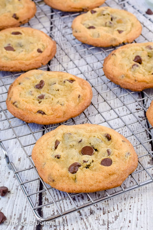 Our Favorite Chocolate Chip Cookies - a soft chewy center and crispy edges makes these the perfect chocolate chip cookie. Great recipe for bake sales or parties! #cookies #chocolatechipcookies #easy #recipe