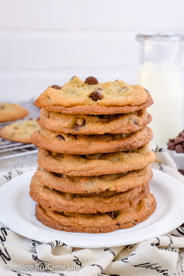 Our Favorite Chocolate Chip Cookies - crispy edges and chewy centers make these the perfect chocolate chip cookies. Try this easy recipe for bake sales or parties! #cookies #chocolatechipcookies #easy #recipe