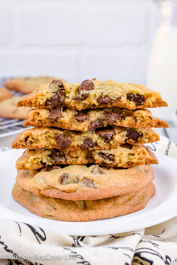 Our Favorite Chocolate Chip Cookies - these easy chocolate chip cookies have crispy edges and a soft chewy center and they always get rave reviews. Make this recipe for bake sales or parties! #cookies #chocolatechipcookies #easy #recipe
