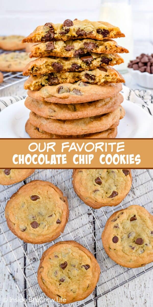 Our Favorite Chocolate Chip Cookies - chewy centers and crispy edges make these the best chocolate chip cookies. Make this easy recipe for parties or bake sales and watch everyone devour them! #cookies #chocolatechipcookies #easy #recipe
