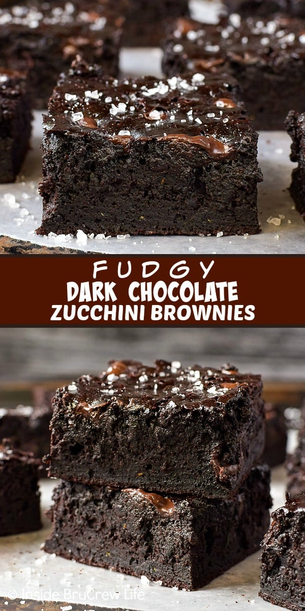 Two pictures of dark chocolate zucchini brownies collaged together with a brown text box