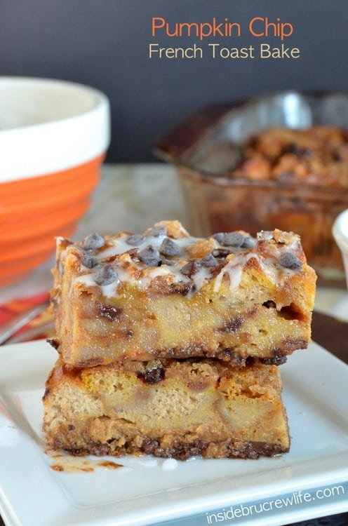 Pumpkin Chip French Toast Bake