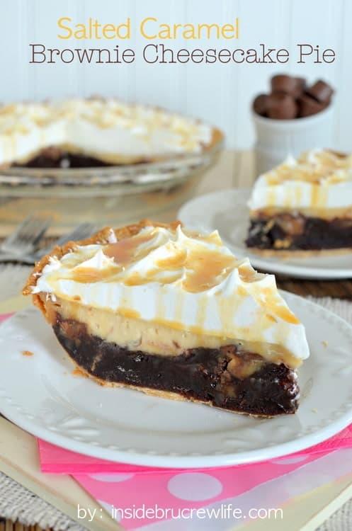 Salted Caramel Brownie Cheesecake Pie