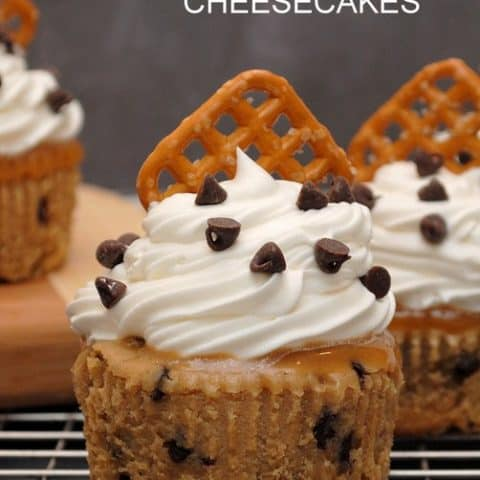 Salted Caramel Coffee Chip Cheesecakes
