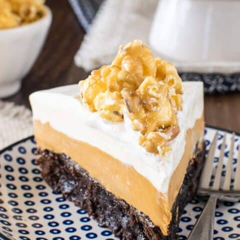 White Chocolate Caramel Mousse Brownie Cake