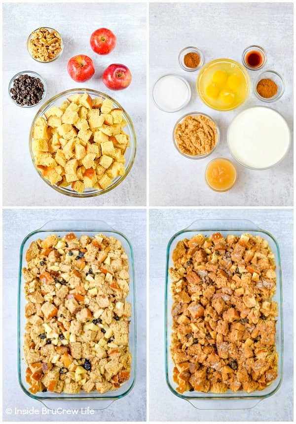 4 pictures collaged together showing how to make apple bread pudding