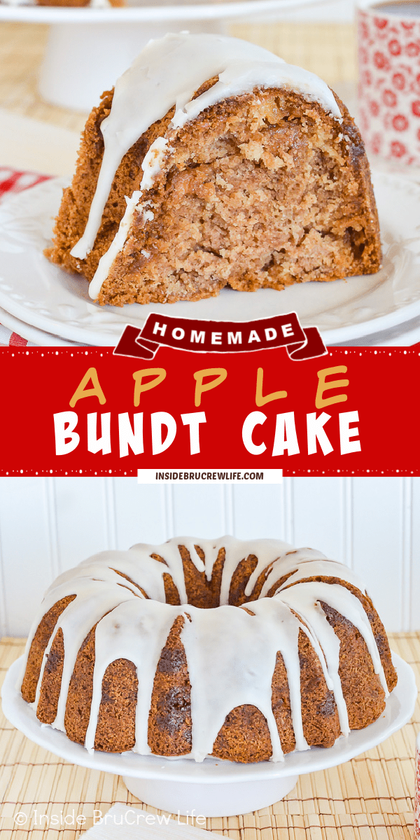 Two pictures of apple bundt cake collaged together with a red text box.