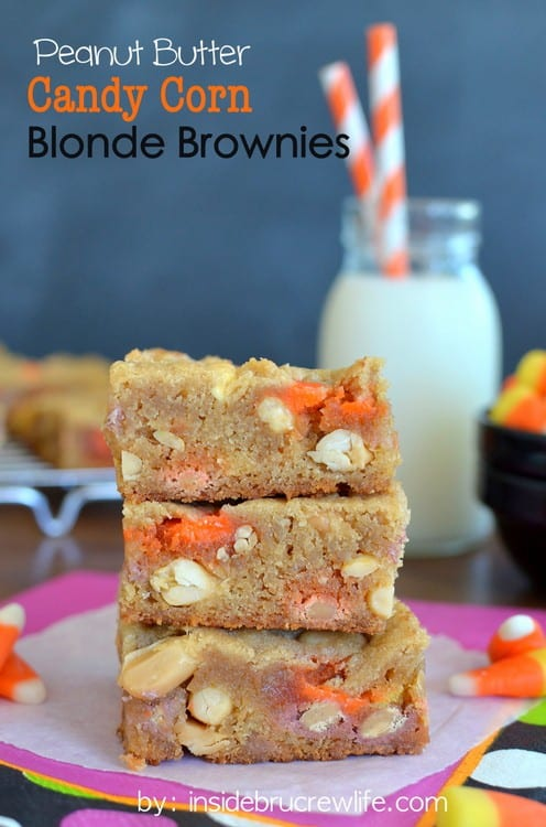 Peanut Butter Candy Corn Blonde Brownies