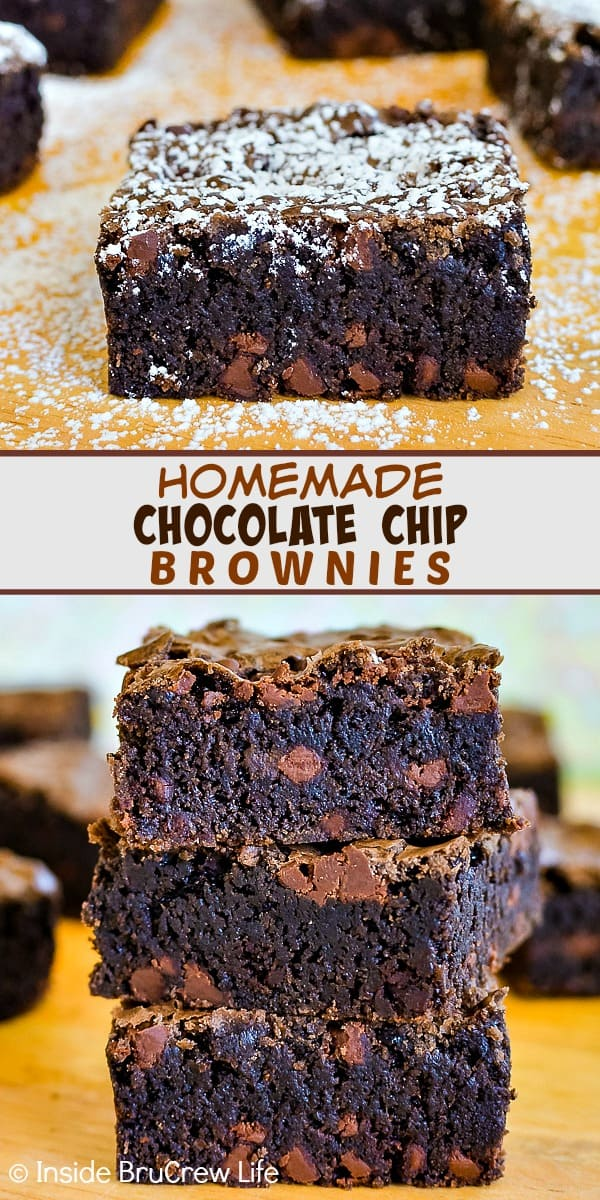 Homemade Chocolate Chip Brownies - adding chocolate chips to these fudgy homemade brownies makes them so delicious. Make this easy recipe any time you need a quick and easy dessert! #brownies #homemade #recipe #chocolate