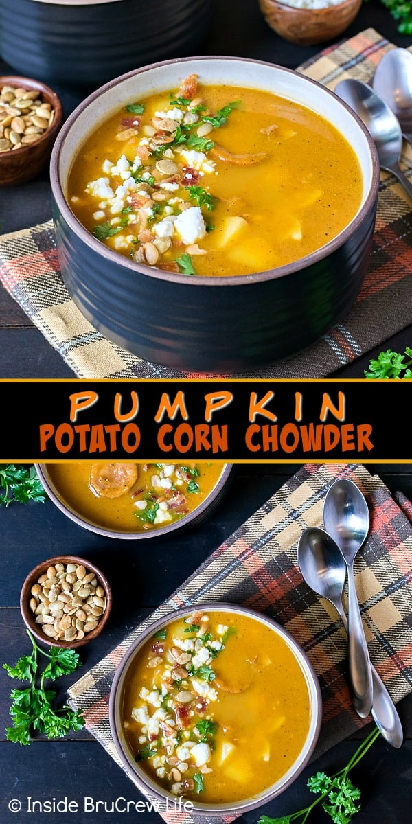 Pumpkin Potato Corn Chowder - this hearty fall soup is loaded with veggies, meat, and noodles. Easy recipe to have on the dinner table in 30 minutes.