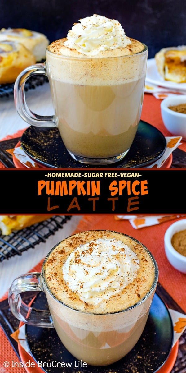 Sugar Free Vegan Pumpkin Spice Latte - save time and money this fall by making your own homemade pumpkin latte at home. Sugar free syrup and soy milk makes this easy recipe healthy and delicious! #pumpkinspice #latte #vegan #sugarfree #coffee #fall