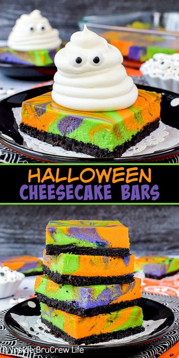 Halloween Swirled Cheesecake Bars - bright colorful swirled cheesecake bars with a spooky whipped cream ghost will get smiles from everyone. Try this easy recipe for Halloween parties. #cheesecake #halloween #ghosts #cheesecakebars