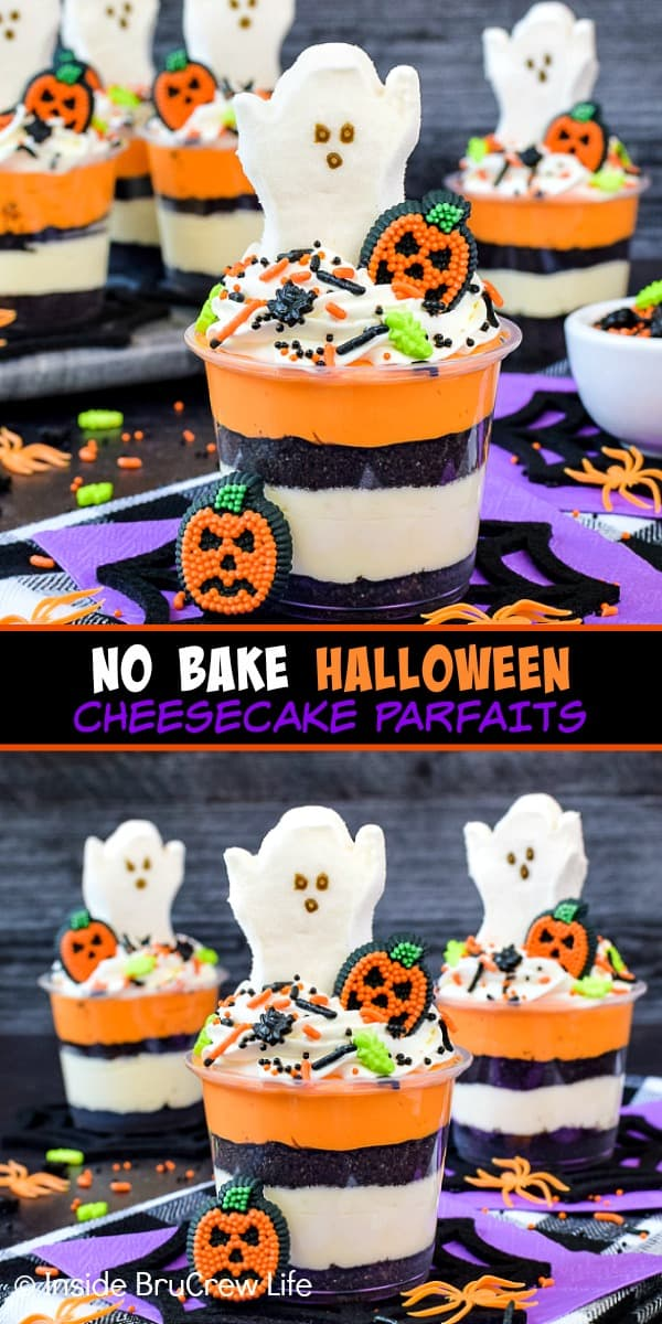 No Bake Halloween Cheesecake Parfaits - layers of no bake cheesecake and cookies topped with ghost Peeps and sprinkles make a fun treat. Make this no bake recipe for Halloween parties! #nobake #cheesecakeparfaits #halloween #spookytreats