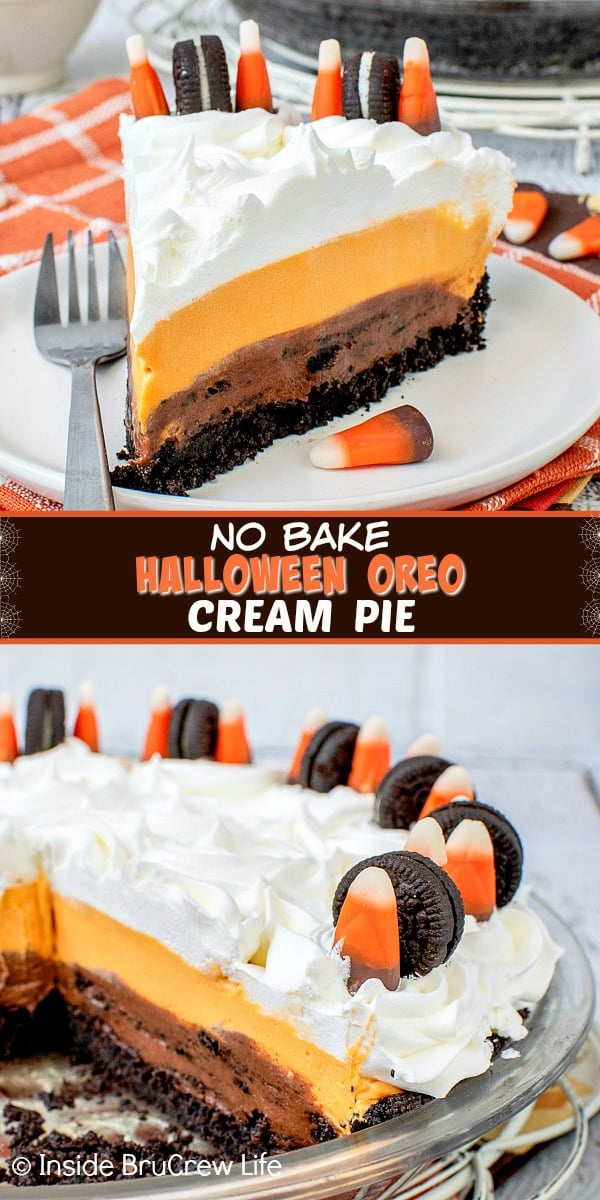 No Bake Halloween Oreo Cream Pie - layers of Oreo cookies, no bake chocolate cheesecake, and vanilla pudding make this such a delicious no bake dessert. Make this fun recipe for Halloween parties!