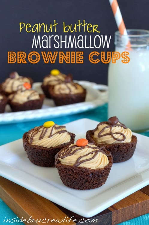 Peanut Butter Marshmallow Brownie Cups