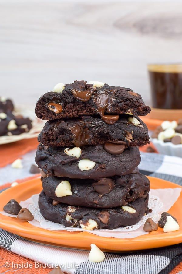 Triple Chip Chocolate Pumpkin Cookies