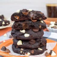 Triple Chip Chocolate Pumpkin Cookies