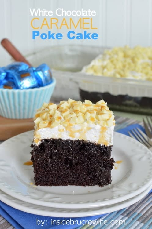 White Chocolate Caramel Poke Cake