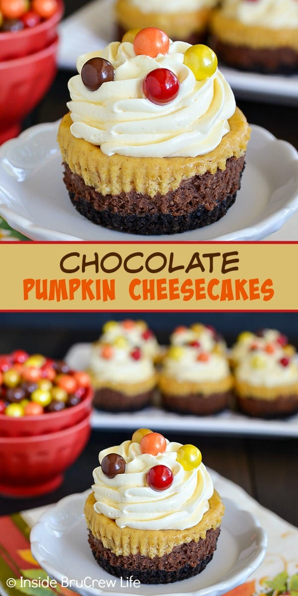 Chocolate Pumpkin Cheesecakes - these mini cheesecake cupcakes have layers of chocolate and pumpkin cheesecake on an Oreo cookie crust. Make this easy recipe for Thanksgiving dinner! #cheesecake #chocolate #pumpkin #thanksgiving #cheesecakecupcakes