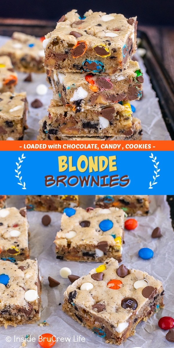 Two pictures of loaded blonde brownies collaged together with a blue text box