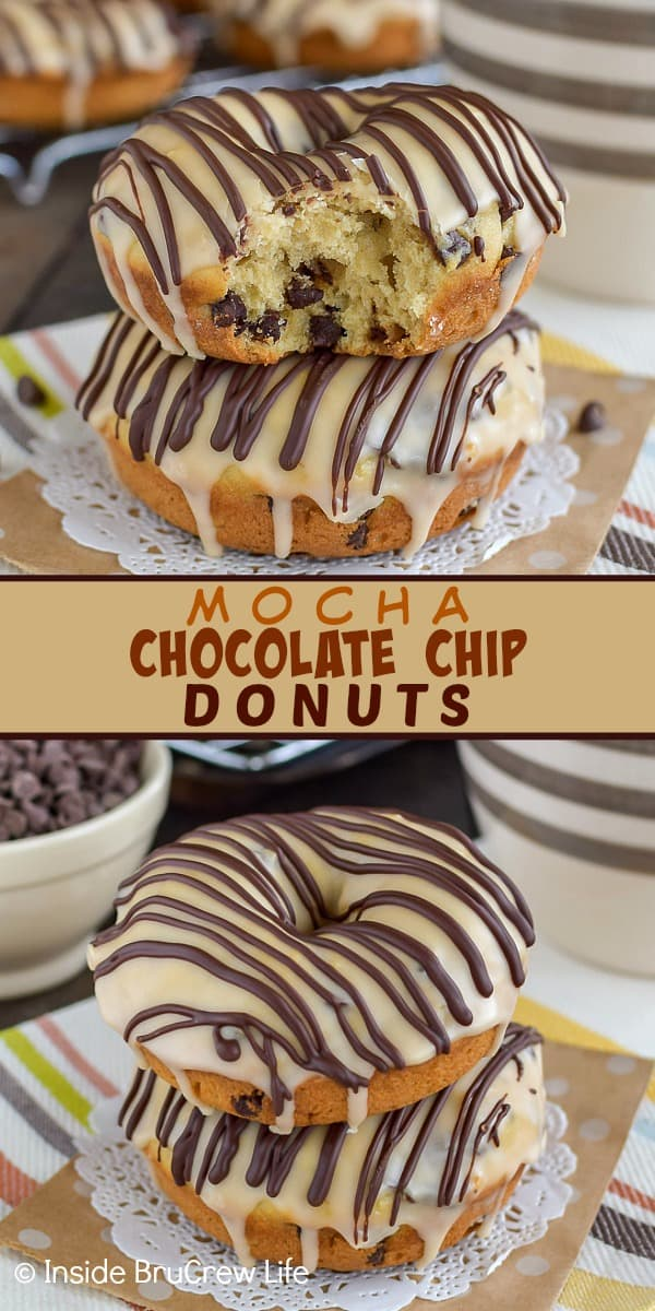 Mocha Chocolate Chip Donuts - these homemade baked donuts are loaded with chocolate chips and topped with a sweet coffee glaze. Make this easy recipe for breakfast or for after school snacks. #donuts #homemade #chocolatechip #mocha #coffee #breakfast