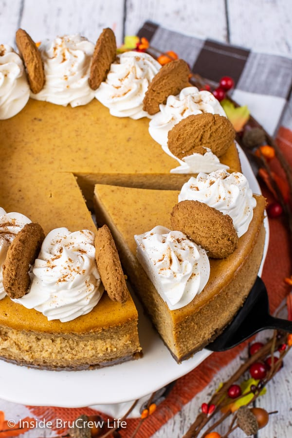 Best Pumpkin Cheesecake - a gingersnap cookie crust and lots of spices make this creamy pumpkin cheesecake an amazing dessert. Easy recipe to make for Thanksgiving dinner! #cheesecake #pumpkin #pumkpinspice #gingersnapcookies #thanksgiving #holiday #dessert