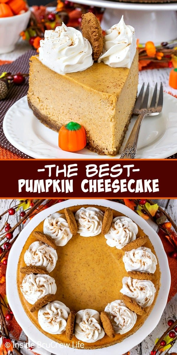 Best Pumpkin Cheesecake - this pumpkin spice cheesecake with a gingersnap crust is so creamy and delicious. Add this easy recipe to your Thanksgiving dinner this year. #cheesecake #pumpkin #pumkpinspice #gingersnapcookies #thanksgiving #holiday #dessert