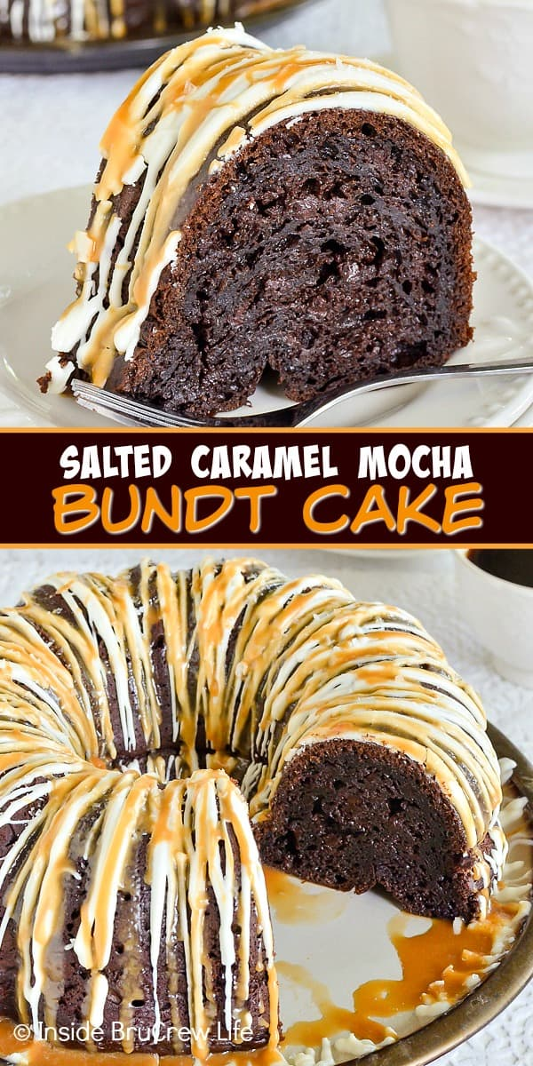 Salted Caramel Mocha Bundt Cake - adding caramel and white chocolate drizzles to the top of this chocolate Bundt Cake makes it taste amazing. Make this easy recipe for parties or bake sales. #bundtcake #chocolatecake #saltedcaramel #cakemixrecipes
