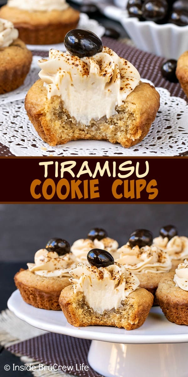 Tiramisu Cookie Cups - the creamy coffee filling makes these little coffee sugar cookie cups taste and look amazing! Easy recipe to make for cookie exchanges! #cookiecups #tiramisu #coffee #cookies #espressowhippedcream