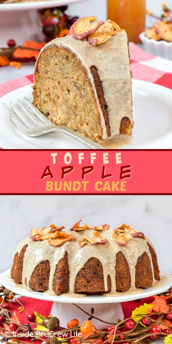 Toffee Apple Bundt Cake - this homemade spice cake is loaded with apples and toffee bits and is topped with a maple glaze. Make this easy recipe for fall parties or dessert. #cake #bundtcake #apple #toffee #spicecake #homemade