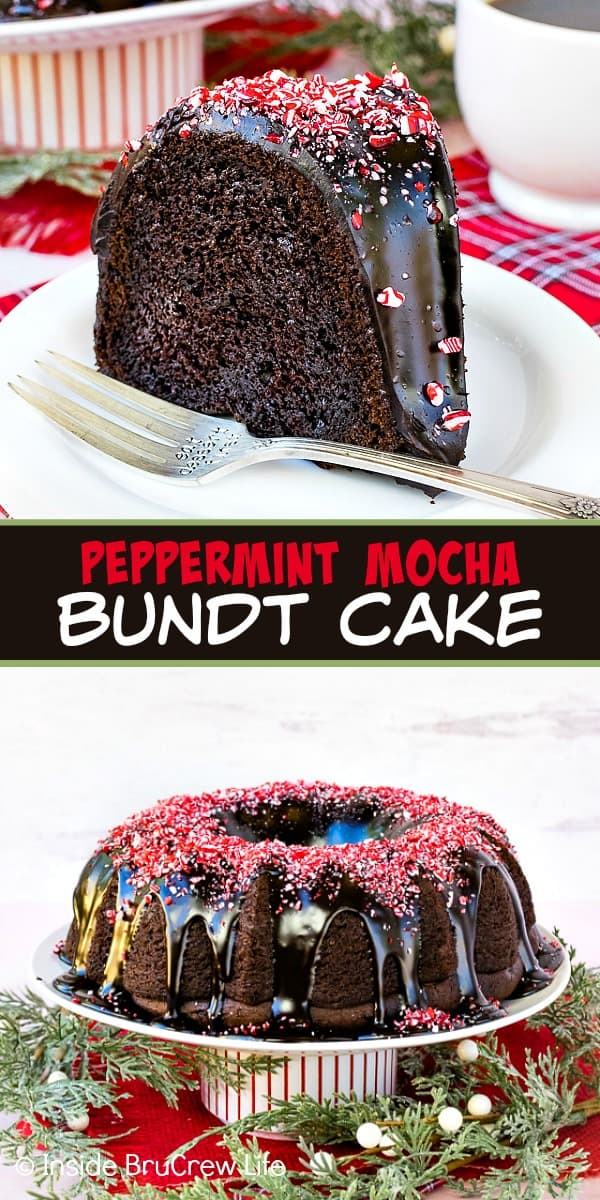 Peppermint Mocha Bundt Cake - peppermint bits and a rich chocolate mocha glaze add a delicious and pretty flair to this chocolate bundt cake! Make this easy recipe for all your holiday parties! #cake #bundtcake #chocolate #peppermint #peppermintmocha #holiday #christmas