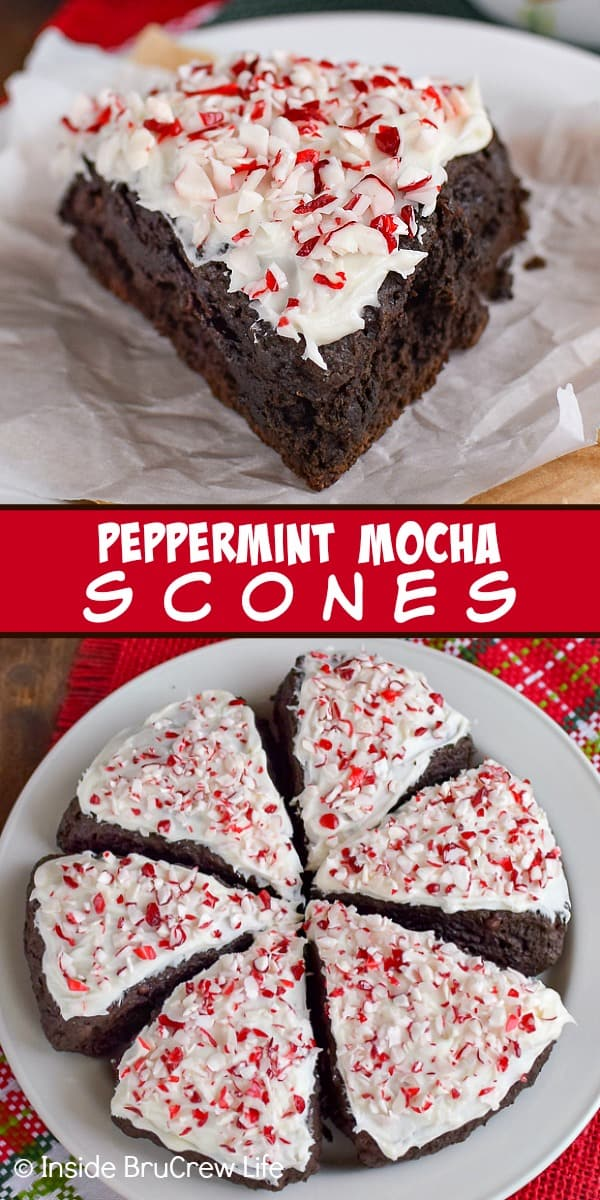Peppermint Mocha Scones - these homemade chocolate scones are topped with frosting and peppermint bits. Make this easy recipe for breakfast this holiday season. #scones #peppermintmocha #chocolate #breakfast #christmas