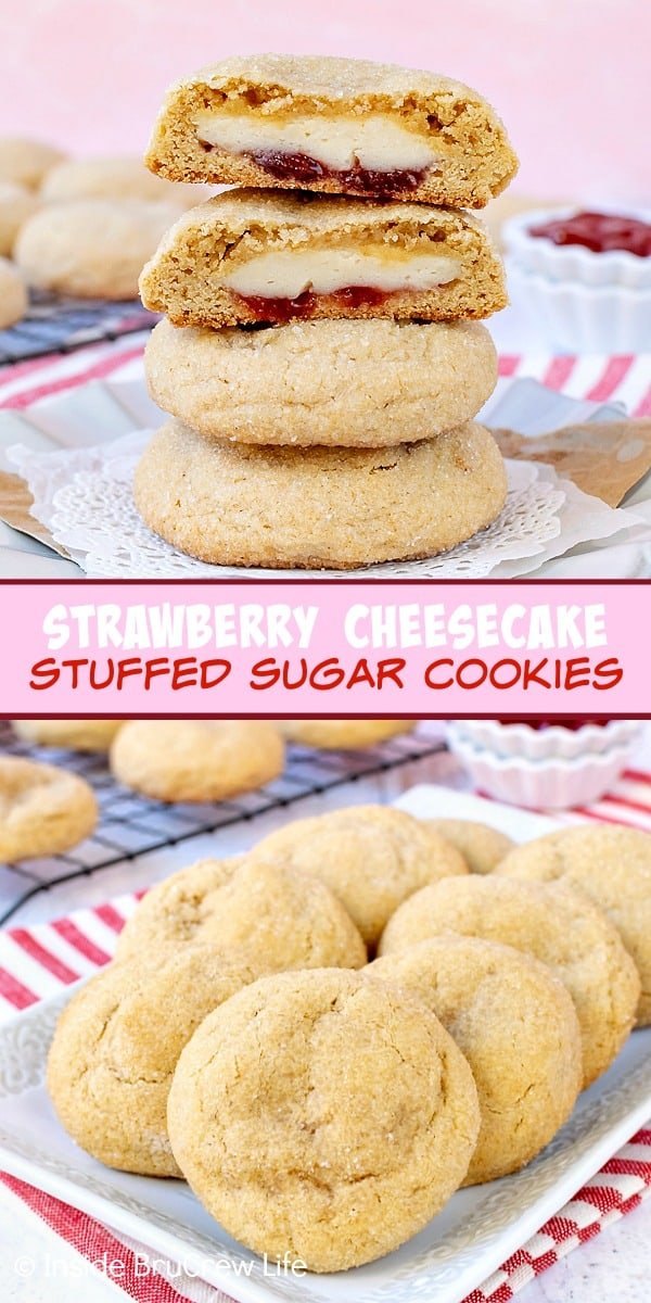 Strawberry Cheesecake Stuffed Cookies - a sweet cheesecake filling hidden inside a soft sugar cookie will make everyone smile when they find it. Make this cookie recipe for dessert or parties. #cookies #cheesecake #stuffedcookies #sugarcookies #strawberry