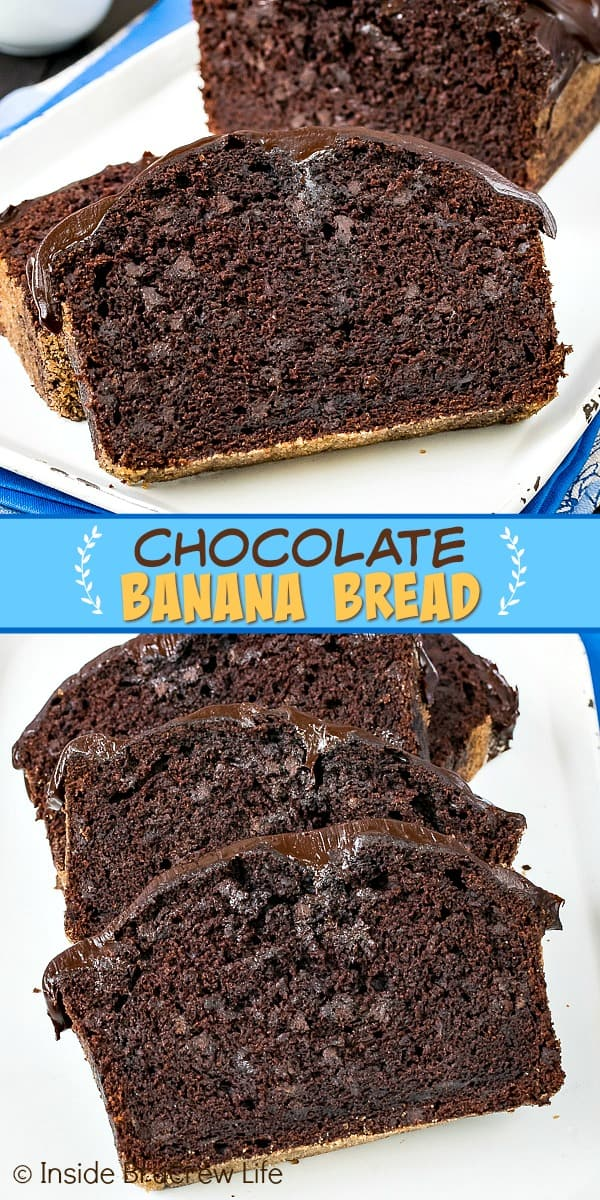Chocolate Banana Bread - adding lots of chocolate chips and a chocolate glaze on top makes this the best banana bread ever. Make a loaf for your favorite chocolate lover and watch them smile. #breakfast #banana #bananabread #chocolate #triplechocolate
