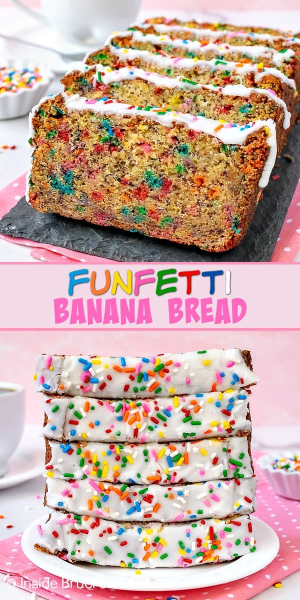 Funfetti Banana Bread - this easy banana bread is loaded with sprinkles and cake batter flavor. Make this fun recipe the next time you have ripe bananas on your counter. #banana #sweetbread #bananabread #funfetti #cakebatter #sprinkles