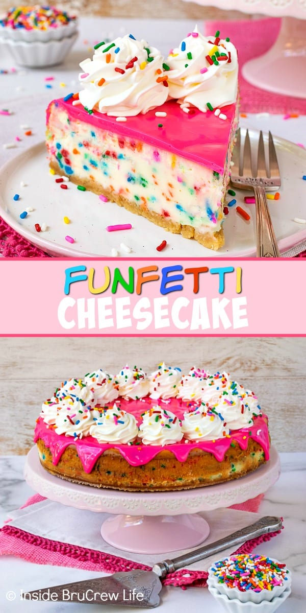 Funfetti Cheesecake - adding lots of sprinkles and a hot pink white chocolate glaze to this cake batter cheesecake makes it so pretty and so delicious. Great recipe to make for every celebrations. #cheesecake #funfetti #cakebatter #sprinkles