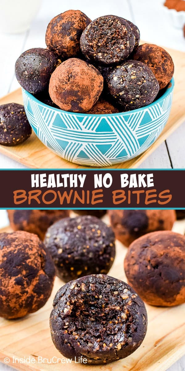 Healthy No Bake Brownie Bites - satisfy your sweet tooth with these healthy chocolate energy bites. They are made from six natural ingredients and taste so good. Easy treat to make when you are craving chocolate. #healthy #energybites #browniebites #nobake #chocolate #figbars #glutenfree #vegan #paleo #energyballs