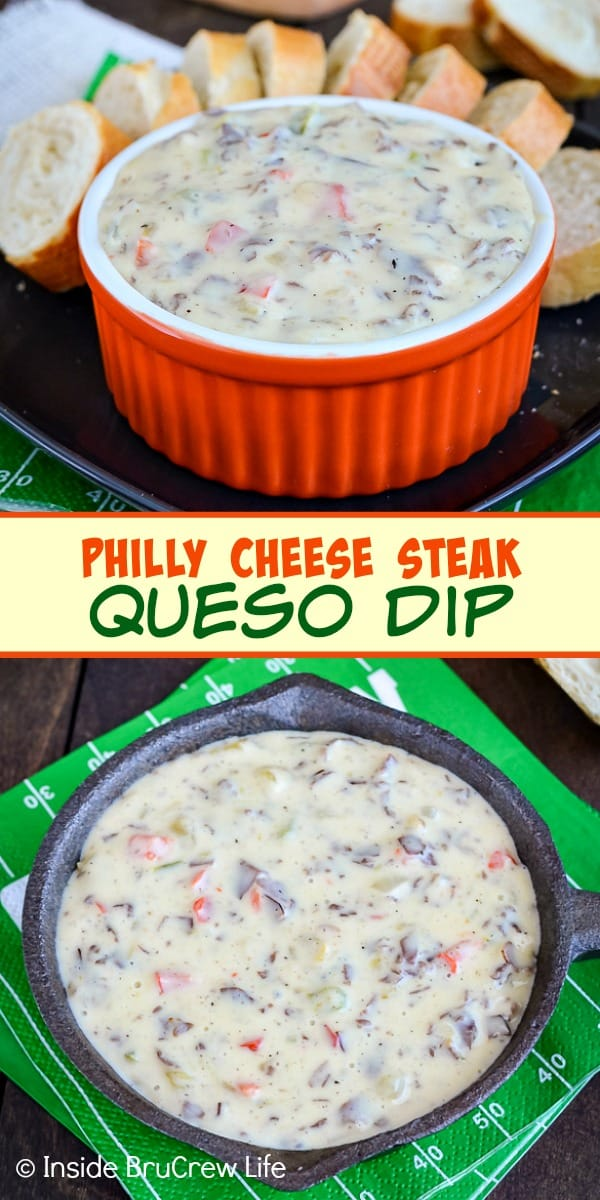 Philly Cheese Steak Queso Dip - this easy white queso is loaded with beef, peppers, and onions and it tastes like a Philly cheese steak. Make this easy recipe for game day parties! #dip #queso #cheese #velveeta #phillycheesesteak #gameday #superbowl