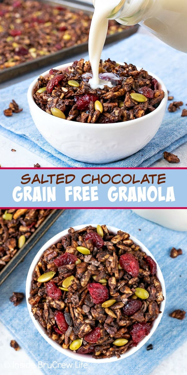 Salted Chocolate Grain Free Granola - four kinds of nuts, coconut, and cocoa powder makes this the best grain free granola. Make this easy recipe for breakfast or after school snacks. #healthy #granola #grainfree #breakfast #homemade #glutenfree #vegan #dairyfree